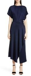 Yigal Azrouel Shirred Waist Asymmetrical Jersey Midi Dress