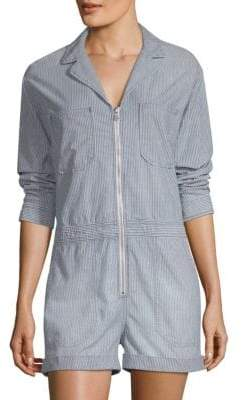 AG Jeans Women's Striped Zip-Front Romper - Loft - Size Small