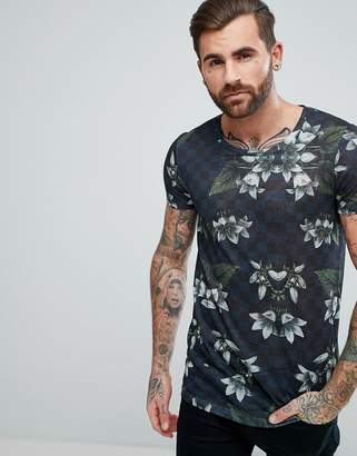 Asos DESIGN longline t-shirt with floral print in linen look