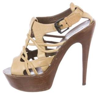 Bottega Veneta Leather High-Heel Sandals brown Leather High-Heel Sandals