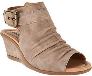 Earth Leather Ruched Peep-toe Wedges - Adina
