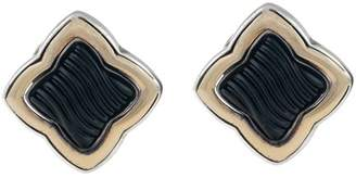 David Yurman Sterling Silver 18K Yellow Gold Quatrefoil Onyx Earrings