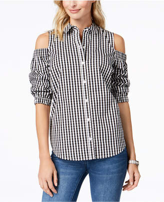 Charter Club Cold-Shoulder Gingham Shirt, Created for Macy's
