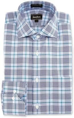 Neiman Marcus Plaid Long-Sleeve Shirt, Blue