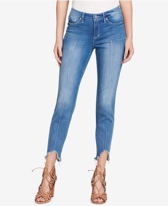 Jessica Simpson Juniors' Kiss Me Asymmetrical-Hem Skinny Jeans