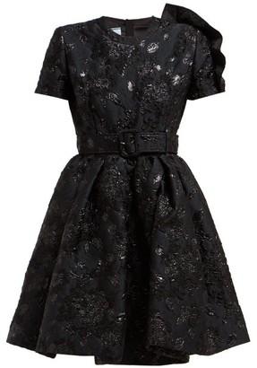 Prada Bouquet Brocade Flared Mini Dress - Womens - Black