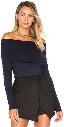 Autumn Cashmere Off Shoulder Sweater in Navy $297 thestylecure.com