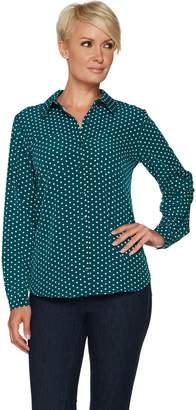 Susan Graver Polka Dot Stretch Woven Button Front Shirt