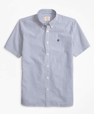 Brooks Brothers Striped Seersucker Cotton Short-Sleeve Sport Shirt
