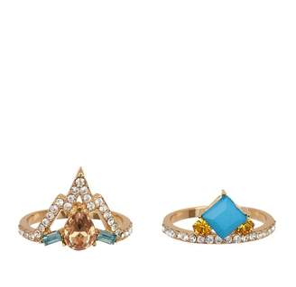 Ariella Collection Multi-Stone Stack Ring Set