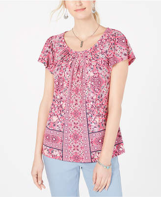 Style&Co. Style & Co Petite Printed Pleated Scoop-Neck Top