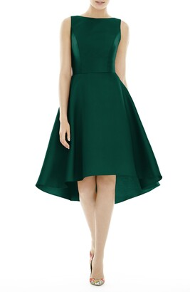Alfred Sung High/Low Satin Twill Cocktail Dress