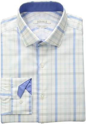 Perry Ellis Men's Very Sim Fit Performance Plaid Dress Shirt