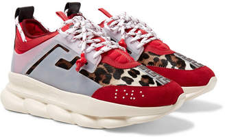 Versace Chain Reaction Panelled Calf Hair, Rubber and Suede Sneakers - Men - Red
