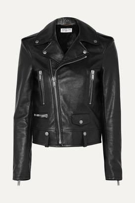 Saint Laurent Printed Leather Biker Jacket - Black