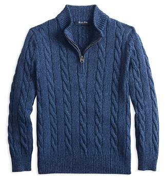 Brooks Brothers Boys' Half-Zip Cotton Cable Sweater - Big Kid