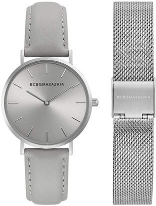 BCBGMAXAZRIA Ladies Watch Box Set with Grey Leather Strap and Silver Mesh Bracelet, 36MM