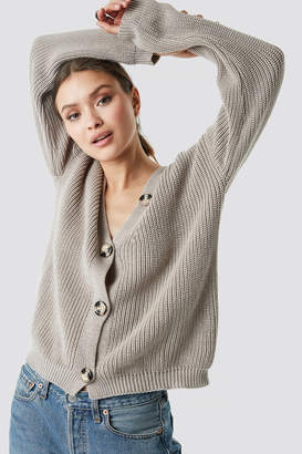 NA-KD Na Kd Big Button Knitted Cardigan Beige