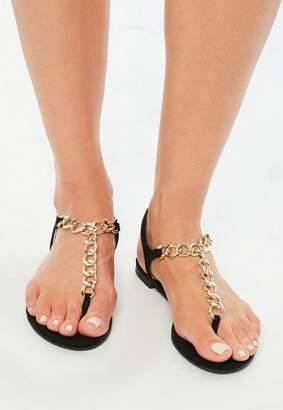 Missguided Black Chain T Bar Flat Sandals