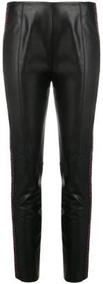 Pinko side stripe faux leather skinny trousers
