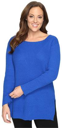 Vince Camuto Specialty Size Plus Size Long Sleeve Ribbed V Textured Sweater Women's Sweater