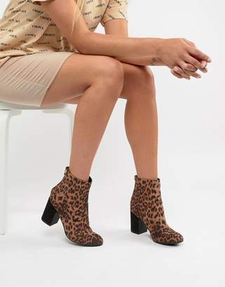 New Look Leopard Print Block Heeled Ankle Boot