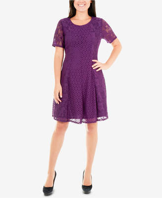 NY Collection Mixed-Lace Fit & Flare Dress