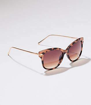LOFT Metallic Arm Tortoiseshell Print Cateye Sunglasses
