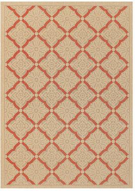 """Couristan Area Rug, Indoor/Outdoor 5 Seasons Collection Sorrento Cream-Terracotta 2' 3"""" x 7' 10"""" Runner"""