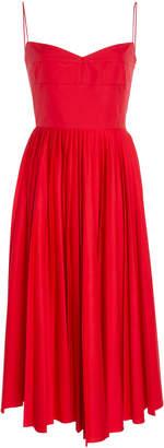 Khaite Pamela Pleated Cotton Midi Dress