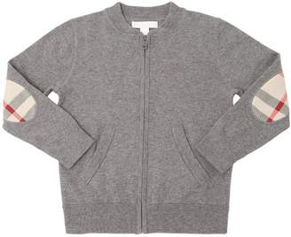 Burberry Zip-Up Cotton Sweater W/ Check Patches