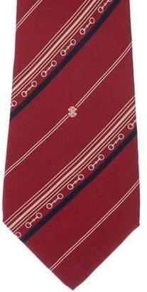 Celine Striped Horsebit Silk Tie