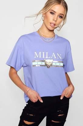 boohoo Eliza Pastel Foil Print Slogan T-Shirt