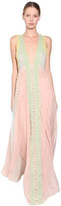 Alberta Ferretti Long Silk Macramé Dress