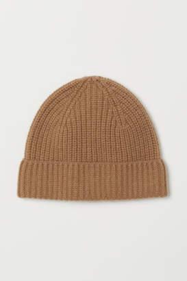 H&M Ribbed Cashmere Hat - Beige