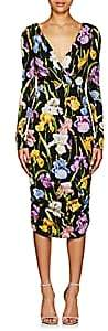 Dolce & Gabbana Women's Iris-Print Stretch-Silk Ruched Dress