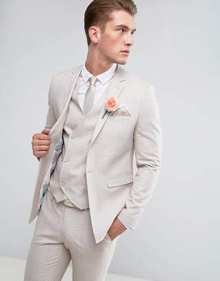 Asos DESIGN Wedding Skinny Suit Jacket in Crosshatch Nep In Putty With Floral Print Lining