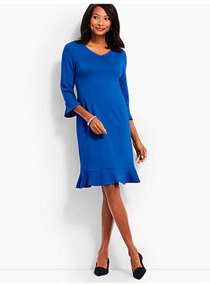Talbots Flounce Refined Ponte Sheath Dress