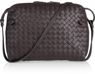 Bottega Veneta Messenger Small Intrecciato Leather Shoulder Bag - Dark brown