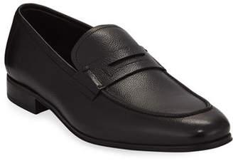 Salvatore Ferragamo Men's Textured Calfskin Penny Loafer, Black