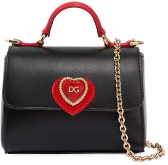 Dolce & Gabbana Sicily Heart Leather Top Handle Bag