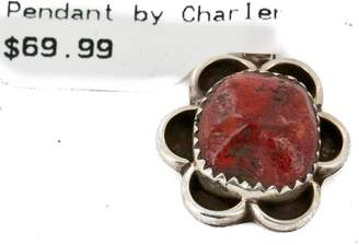 Rob-ert Native-Bay Delicate $70 Retail Tag Handmade Authentic Made by Robert Little Navajo Coral Native American Pendant