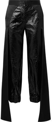 Hellessy Jagger Draped Glossed Textured-leather Tapered Pants - Black