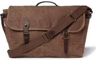 J.Crew Abingdon Leather-Trimmed Waxed Cotton-Canvas Messenger Bag
