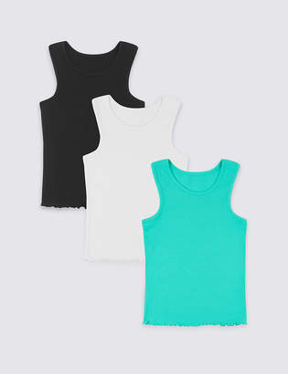 Marks and Spencer 3 Pack Cotton Vests with Stretch (3-16 Years)
