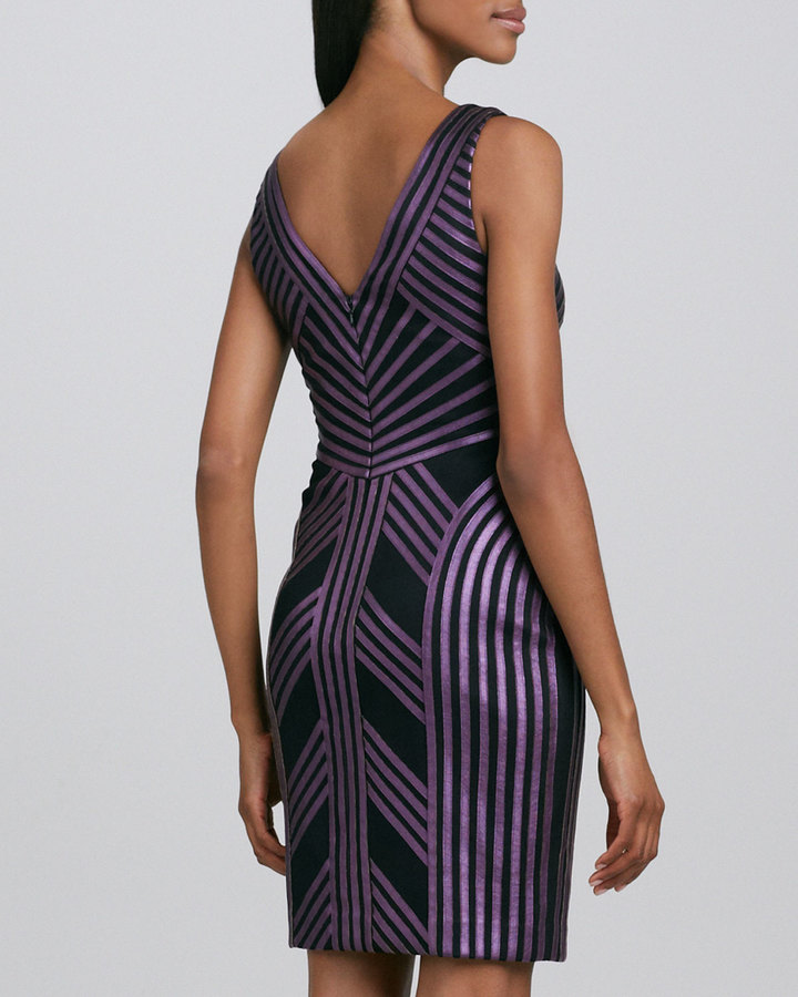Aidan Mattox Striped Faux-Leather Cocktail Dress