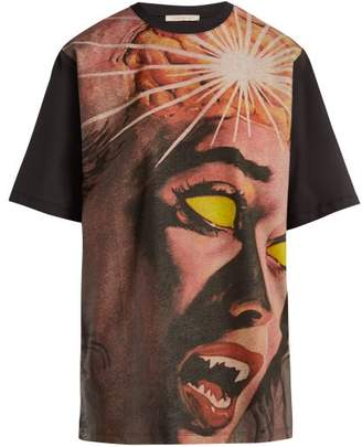 Christopher Kane - Horror Printed Cotton T Shirt - Womens - Black