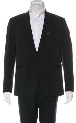 Versace Deconstructed Leather-Trimmed Twill Blazer