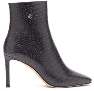Jimmy Choo Minori 85 Crocodile Effect Leather Ankle Boots - Womens - Dark Grey