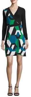 INC International Concepts Petite Colourblock Wrap Sheath Dress
